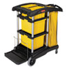 HYGEN M-FIBER HEALTHCARE CLEANING CART, 22W X 48.25D X 44H, BLACK/YELLOW/SILVER