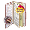 Pressboard Classification Folders with SafeSHIELD Coated Fasteners, 2/5 Cut, 2 Dividers, Legal Size, Red, 10/Box