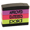 <strong>Stack Stamp®</strong><br />Stack Stamp, APPROVED, ENTERED, PAID, 1 13/16 x 5/8, Assorted Fluorescent Ink