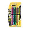 BIC® Brite Liner Grip Pocket Highlighter, Chisel Tip, Assorted Colors, 5/Set BICGBLP51ASST