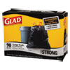 Glad® Drawstring Large Trash Bags, 30 x 33, 30gal, 1.1mil, Black, 90/Carton CLO70313