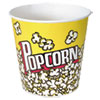 <strong>Dart®</strong><br />Paper Popcorn Bucket, Popcorn Design, 85 oz, Yellow/Red, 15/Pack, 10 Packs/Carton
