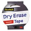 """Dry Erase Tape, 1.88"""" x 5 yds, White"""