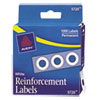 "Dispenser Pack Hole Reinforcements, 1/4"" Dia, White, 1000/Pack"