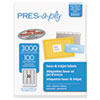 <strong>PRES-a-ply®</strong><br />Labels, Laser Printers, 1 x 2.63, White, 30/Sheet, 100 Sheets/Box