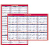 Erasable Vertical/Horizontal Wall Planner, 32 x 48, Blue/Red, 2018