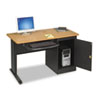 BALT® LX48 Computer Security Workstation, 48w x 24d x 28-3/4h, Teak/Black BLT89843