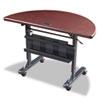 BALT® Flipper Training Table, Half-Round, 48w x 24d x 29-1/2h, Mahogany/Black BLT89877