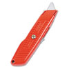Interlock Safety Utility Knife w/Self-Retracting Round Point Blade, Red Orange