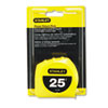 "Power Return Tape Measure, Plastic Case, 1"" x 25ft, Yellow"