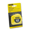 "Power Return Tape Measure w/Belt Clip, 1/2"" x 12ft, Yellow"