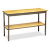 <strong>Barricks</strong><br />Utility Table with Bottom Shelf, Rectangular, 48w x 18d x 30h, Oak/Brown