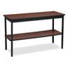 Barricks Utility Table with Bottom Shelf, Rectangular, 48w x 18d x 30h, Walnut/Black BRKUTS1848WA