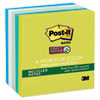 Recycled Notes in Bora Bora Colors, 3 x 3, 90-Sheet, 5/Pack