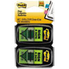 "<strong>Post-it® Flags</strong><br />Arrow Message 1"" Page Flags, ""Sign and Date"", Green, 2 50-Flag Dispensers/Pack"