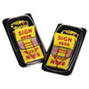 "<strong>Post-it® Flags</strong><br />Arrow Message 1"" Page Flags, ""Sign Here"", Yellow, 2 50-Flag Dispensers/Pack"