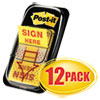 "Arrow Message 1"" Page Flags, Sign Here, Yellow, 50/Dispenser, 12 Dispensers/PK"