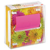 Pop-up Note Dispenser with Designer Daisy Insert, One 45-Sheet Pad, Black/Clear