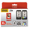 <strong>Canon®</strong><br />8278B005 (PG-245XL/CL-246XL) Ink and Paper Combo Pack, Black/Tri-Color