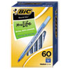<strong>BIC®</strong><br />Round Stic Xtra Life Stick Ballpoint Pen Value Pack, 1 mm, Blue Ink, Translucent Blue Barrel, 60/Box