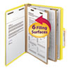 Top Tab Classification Folder, Two Dividers, Six-Section, Letter, Yellow, 10/Box