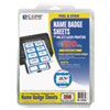 Laser Printer Name Badges, 3 3/8 x 2 1/3, White/Blue, 200/Box
