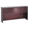 Wood Veneer Hutch With Wood Doors, 72w x 14-5/8d x 37-1/8h, Mahogany