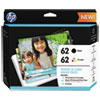 "HP HP 62 (K3W67AN) Black/Tri-Color Original Ink w/Photo Paper,30;4"" x 6"";15;5"" x 7"" HEWK3W67AN"