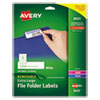 REMOVABLE FILE FOLDER LABELS WITH SURE FEED TECHNOLOGY, 0.94 X 3.44, WHITE, 18/SHEET, 25 SHEETS/PACK