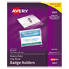 Avery® Secure Top Clip-Style Badge Holders, Horizontal, 4 x 3, Clear, 100/Box - 2923