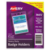Avery® Secure Top Heavy-Duty Badge Holders, Vertical, 3w x 4h, Clear, 25/Pack - 74472