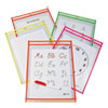 <strong>C-Line®</strong><br />Reusable Dry Erase Pockets, 9 x 12, Assorted Neon Colors, 10/Pack