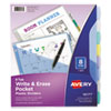 <strong>Avery®</strong><br />Write and Erase Durable Plastic Dividers with Pocket, 3-Hold Punched, 8-Tab, 11.13 x 9.25, Assorted, 1 Set