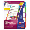 Customizable TOC Ready Index Multicolor Dividers, 1-5, Letter