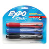 Click Dry Erase Marker, Broad Chisel Tip, Assorted Colors, 3/Set