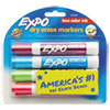 Low-Odor Dry-Erase Marker, Broad Chisel Tip, Assorted Colors, 4/Set
