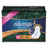 Always® Ultra Thin Overnight Pads with Wings, 38/Pack, 6 Pack/Carton - 95236