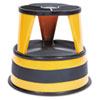 "Kik-Step Steel Step Stool, 2-Step, 350 lb Capacity, 16"" dia. x 14.25h, Orange"