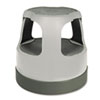 "Scooter Stool, Round, 2-Step, 15"", Step and Lock Wheels, 300 lb Capacity, Gray"