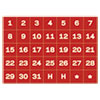 """<strong>MasterVision®</strong><br />Interchangeable Magnetic Board Accessories, Calendar Dates, Red/White, 1"""" x 1"""""""