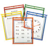 <strong>C-Line®</strong><br />Reusable Dry Erase Pockets, 9 x 12, Assorted Primary Colors, 5/Pack