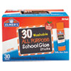 Washable School Glue Sticks, 0.24 oz, Applies and Dries Clear, 30/Box