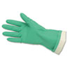 Flock-Lined Nitrile Gloves, One Size, Green, 12 Pairs