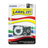 Tape Cassette for KL Label Makers, 3/4in x 26ft, Black on White