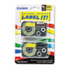 Tape Cassettes for KL Label Makers, 18mm x 26ft, Black on Yellow, 2/Pack