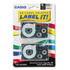 "<strong>Casio®</strong><br />Tape Cassettes for KL Label Makers, 0.37"" x 26 ft, Black on White, 2/Pack"