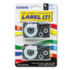 """<strong>Casio®</strong><br />Tape Cassettes for KL Label Makers, 0.37"""" x 26 ft, Blue on White, 2/Pack"""