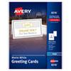 HALF-FOLD GREETING CARDS, INKJET, 5 1/2 X 8.5, MATTE WHITE, 30/BOX W/ENVELOPES