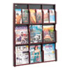 Expose Adj Magazine/Pamphlet Nine Pocket Display, 29-3/4w x 38-1/4h, Mahogany