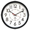 "Electric Contemporary Clock, 14.5"" Overall Diameter, Black Case, AC Powered"